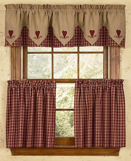 BJS Country Charm  Albemarle Shower Curtain Primitive Shower Curtain Red and white Shower