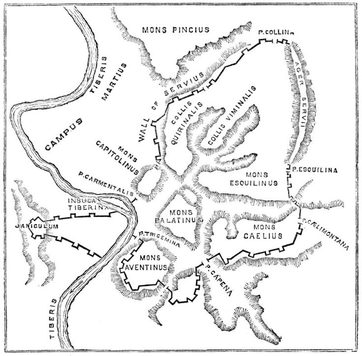 008-BEGINNINGS-(753BC TO 27BC)-AUGUSTUS: Map of Rome