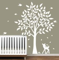 Wall Decals - Children's white Tree Decal with Birds ...