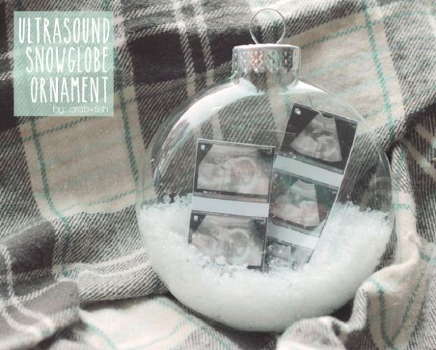 Ultrasound Snowglobe Ornament! This is freakin adorable, we gotta make u one of these! Then do one with pics of him each year, would be so cute!