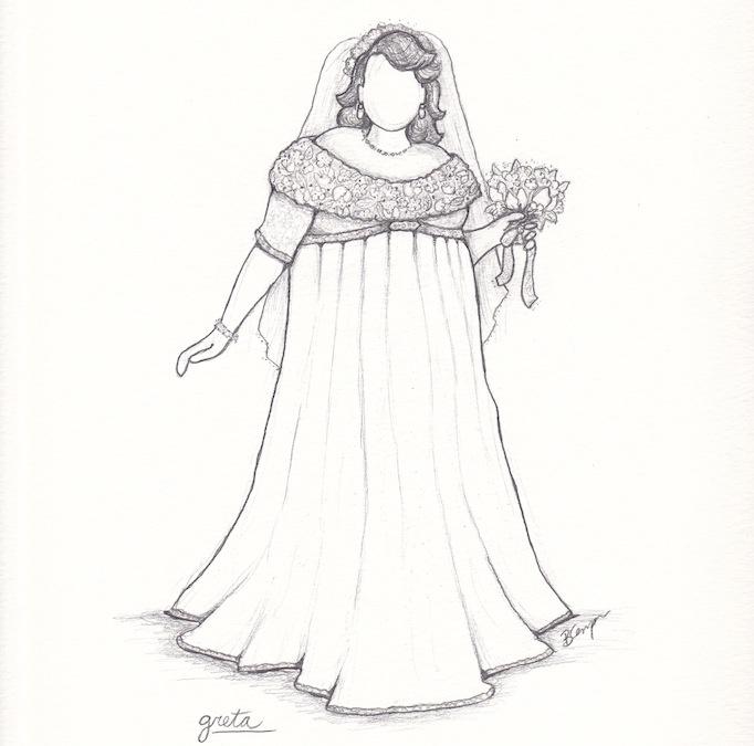 Greta's custom plus size wedding dress sketch by Brooks