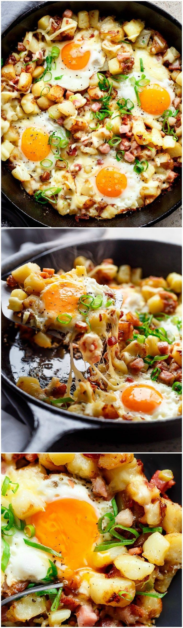 Cheesy Bacon and Egg Hash for breakfast, brunch, lunch or dinner! Easy to make and ready in 30 minutes