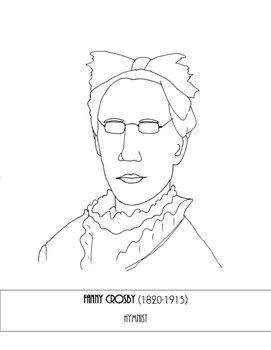 Simple coloring page to go with any study on Fanny Crosby
