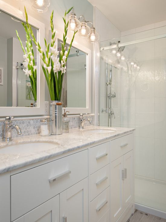 Bathroom With 12x24 Stacked Wall Tiles White Vanity And