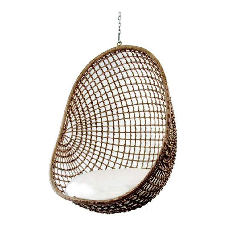 Hanging Pod Chair Natural Check  Furniture and Lighting