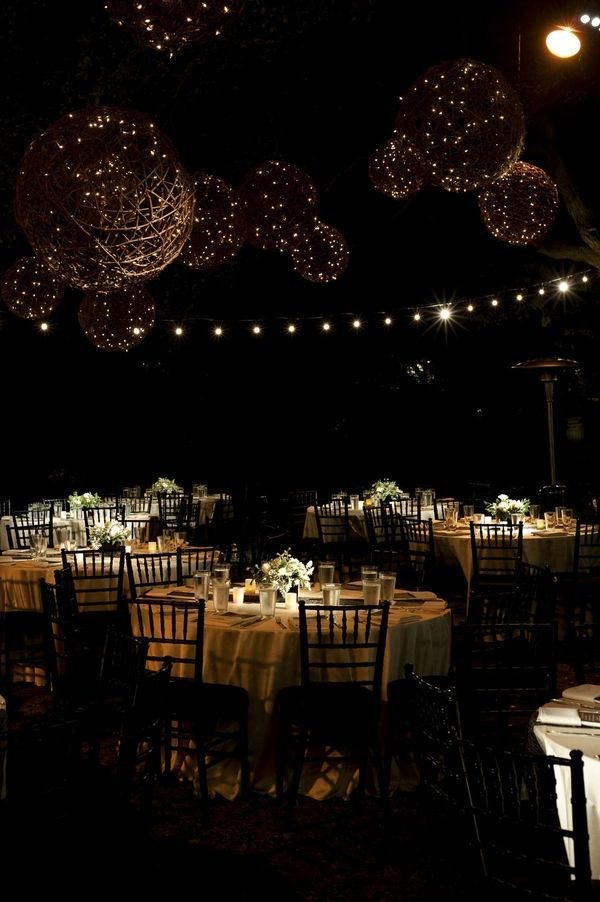 wedding decorations chairs receptions white wingback chair slipcovers elegant outdoor reception with twinkle lights | the day i say do pinterest ...