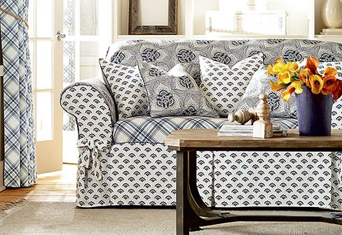 slipcover recliner sofa yakoe 4 seater rattan set the amelie collection playfully mixes three graphic prints ...