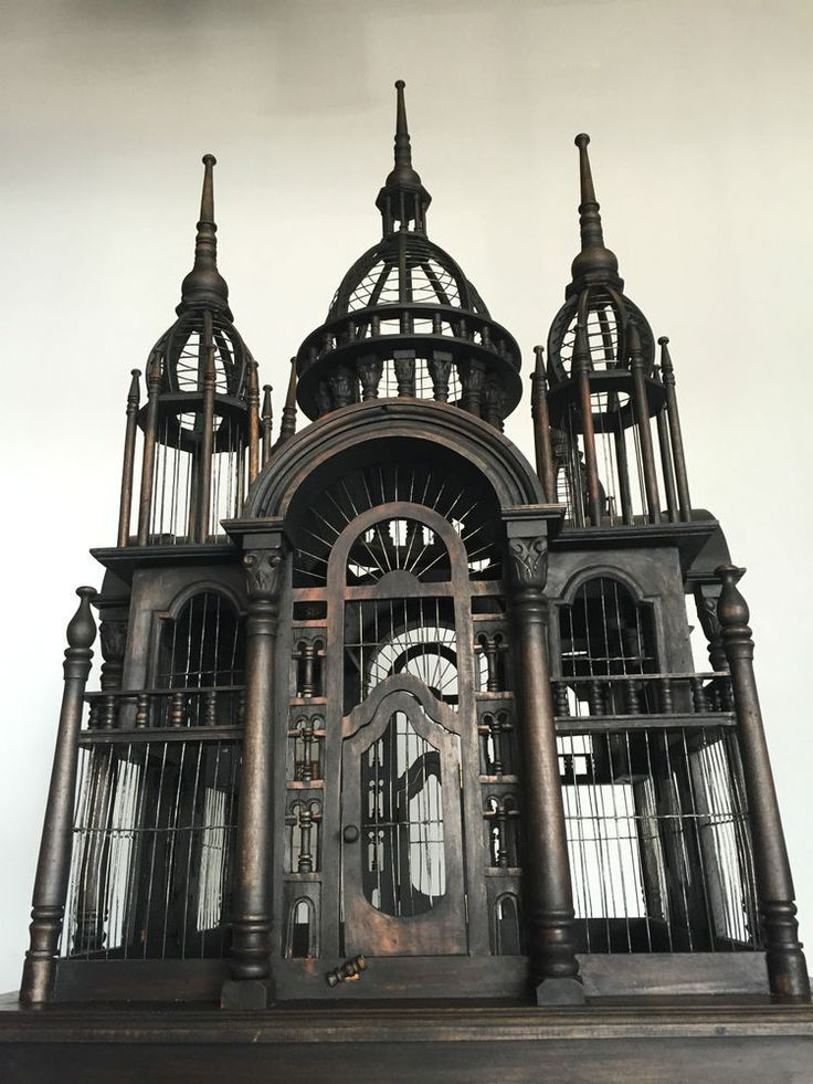 HUGE ANTIQUE GOTHIC WOOD BIRD CAGE DOMED MANSION ON STAND