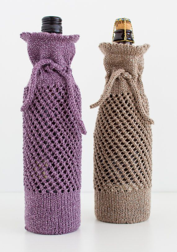 Wine Bottle Gift Bag Knitting Pattern Instant Download PDF