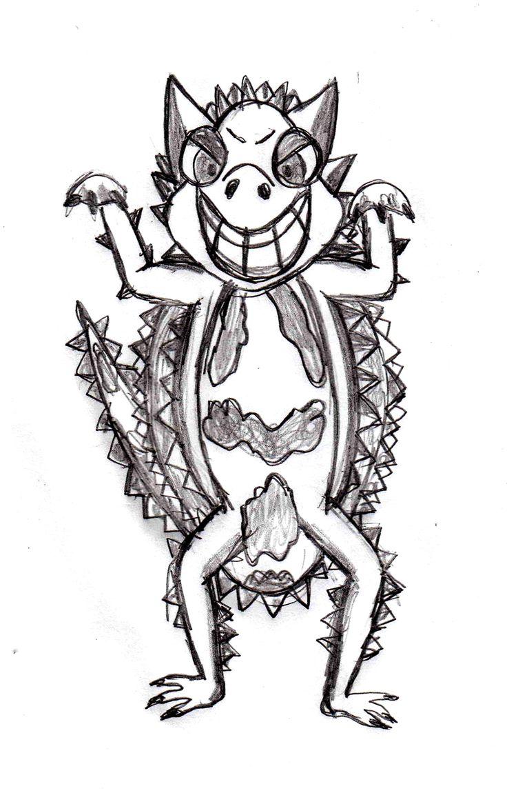 Thorny Devil, lizard sketch, drawing tutorial http