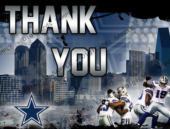 Dallas Cowboys Football Thank You Card By DigiCards On