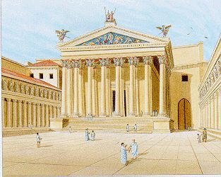 Drawing of the Temple of Mars Ultor in the Forum of