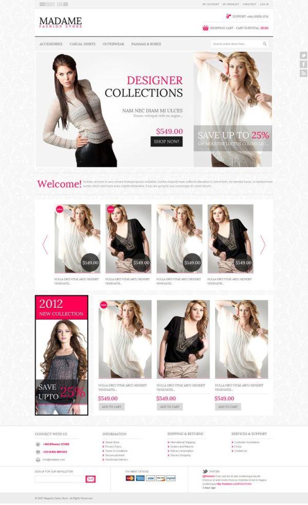 Madame - Responsive fashion store Magento Theme Demo