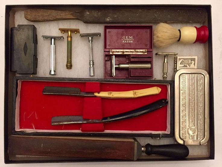 Antique Vintage Barber Shop Shaving Kit Lot Straight