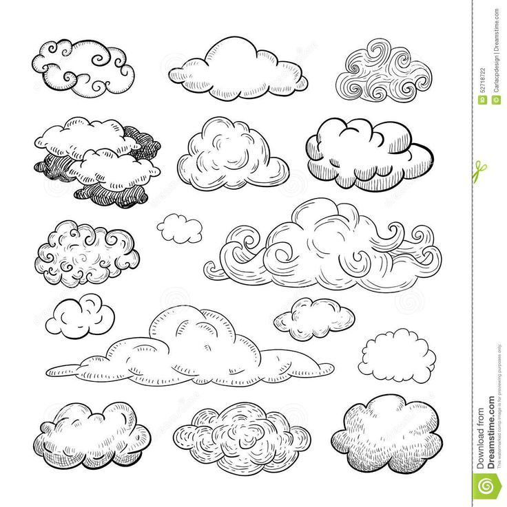 Doodle Collection Of Hand Drawn Vector Clouds. Stock