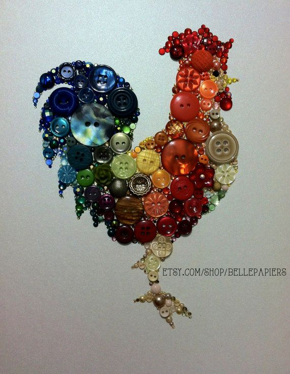 Rooster Wall Hanging Button Art Rooster Chicken