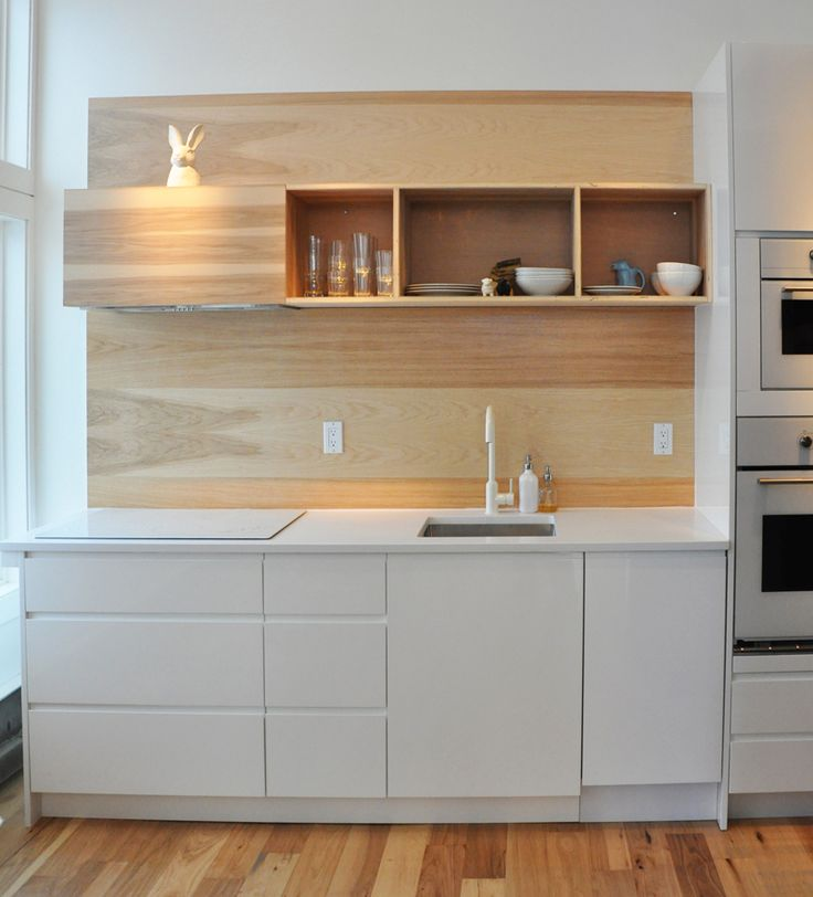 Custom hickory plywood backsplash for the kitchen http