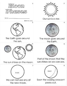Mini books, Moon phases and Worksheets on Pinterest