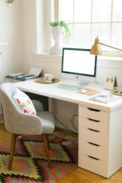 So much inspiration: http://www.stylemepretty.com/living/2015/03/19/30-of-the-prettiest-offices-ever/: