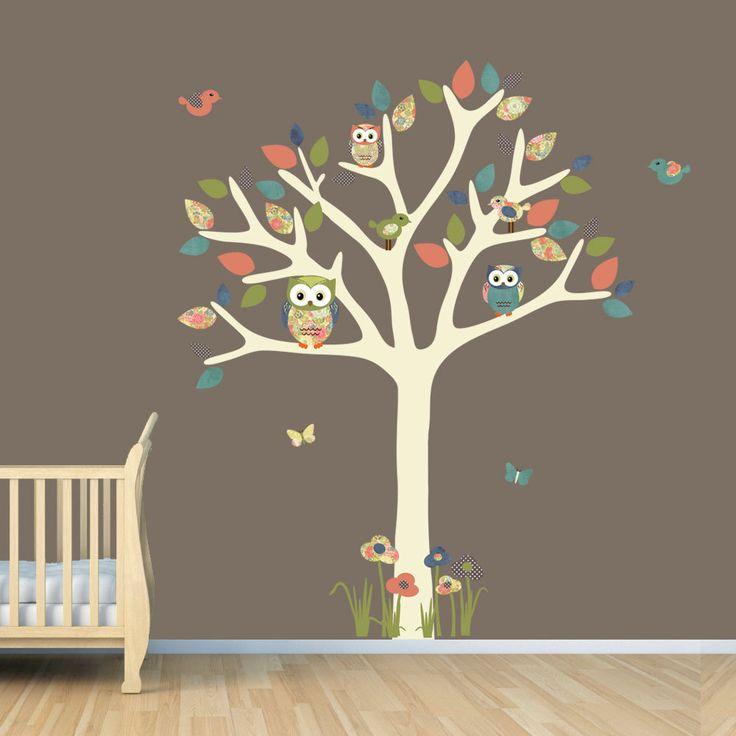 Nursery Wall Decal, Owl Tree Decal, Owl Art, Owl tree wall