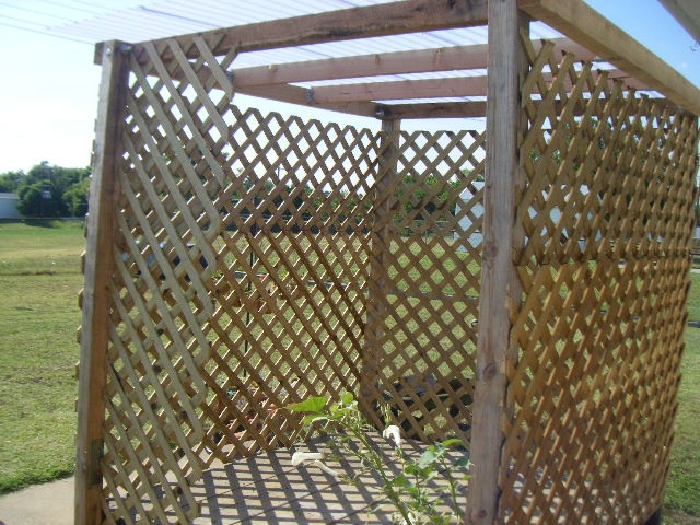 Roof panels are Tuftex Panels and Lattice sides  Gazebo