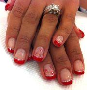 bright festive red tipped gel manicure