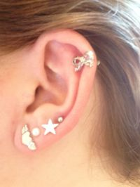 Cute Bows stars hearts multiple earrings piercings ...