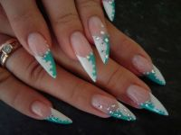 Nails Claws two-tone french with rhinestones | Nails ...