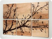 Pretty Branches in Bloom Original Wall Art on Wood Grain ...