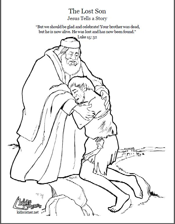 The Parable of the Lost Son. Coloring page, script and