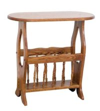 Amish Oval Hickory End Table with Magazine Rack