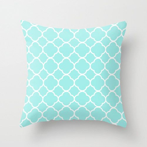 Aqua Pillow Quatrefoil Velvet Aqua Throw Pillow Teen