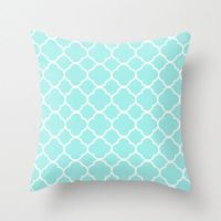Aqua Pillow, Quatrefoil, Velvet, Aqua Throw Pillow, Teen ...