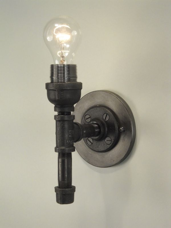 Wall Sconce Made With Black Pipe DIY Pinterest