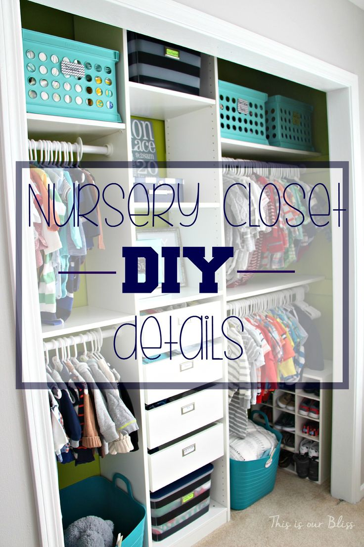 Baby boy nursery closet – DIY nursery closet details  – navy green gray – This is our Bliss