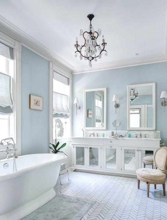 Master Bathroom Blue Walls,chevron Marble Tile, Blue Bath