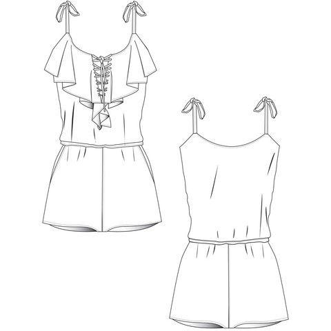 {Illustrator Stuff} Women's Frill Jumpsuit Illustrator