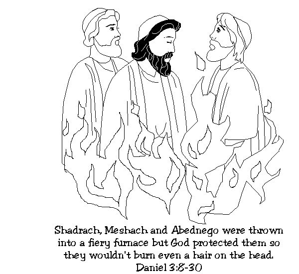 Fiery furnace bible story coloring pages