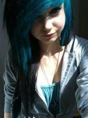 black and blue scene hair