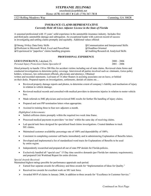 Insurance Resume Objective Examples - Examples of Resumes - insurance personal sample resume