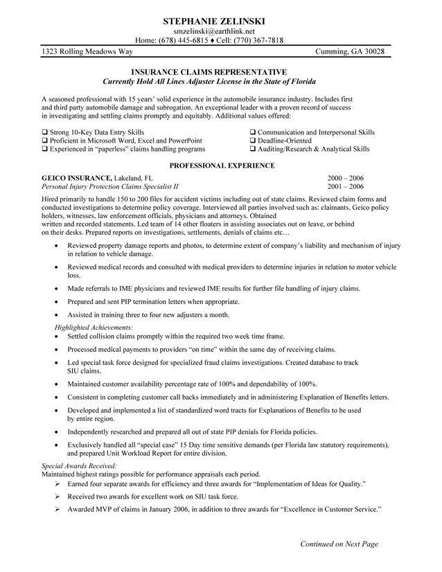 resume format of medical representative