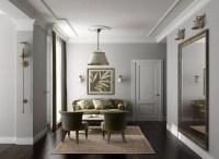 Light grey walls dark wooden floor
