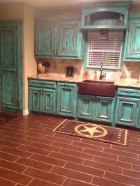 Rustic turquoise kitchen...love the cabinets! | La Casa ...