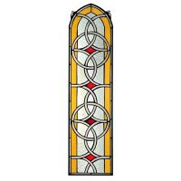 "35"" Gothic Arch Celtic Knot Symmetric Design Stained Glass"