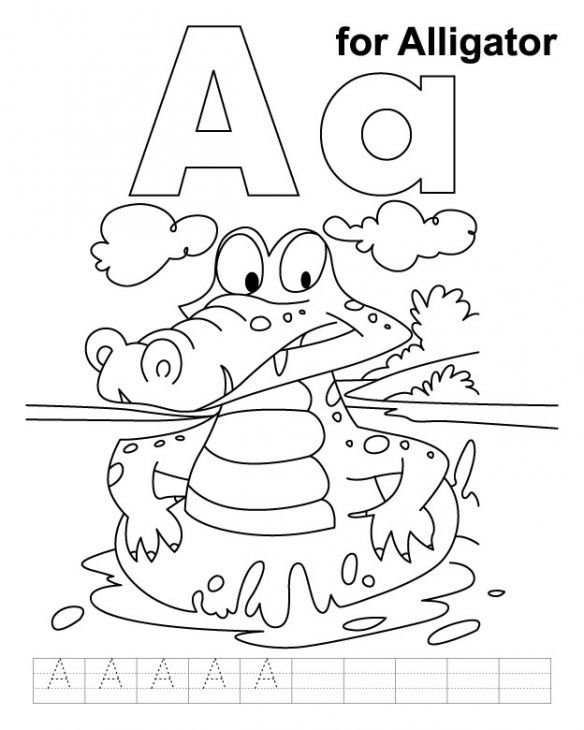 A Is For Alligator Coloring Page To Print For Kids