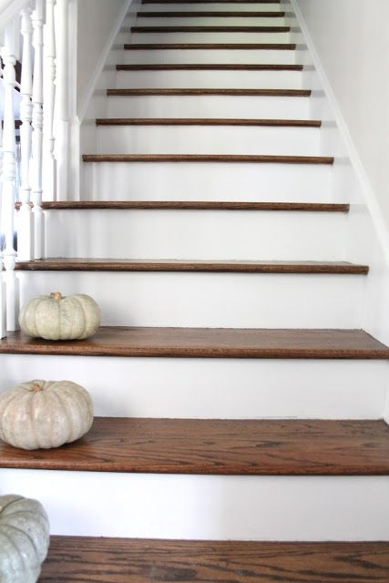 Stair Makeover Treads And Risers Exposed Wooden   Wood Stair Treads And Risers