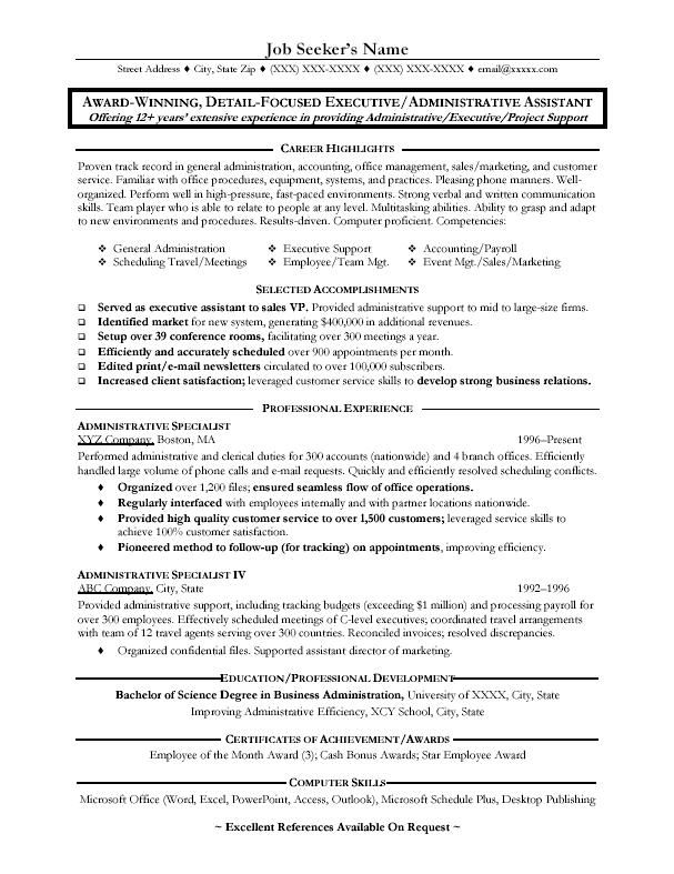 Great Administrative Assistant Resumes  administrative assistant admin resume sample  Resume