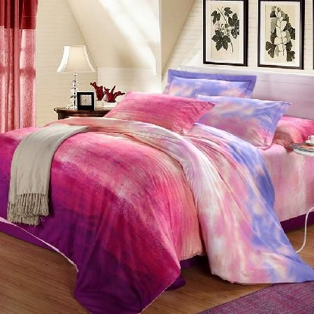 Sky Blue Hot Pink and Purple Watercolor Graffiti Sunrise Cloud Reactive Printed Soft Girls 100