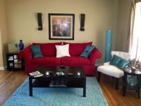 My living room!! Red, aqua and ivory