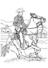 √ malvorlage cowboy sattelt ein pferd